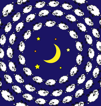 colored vector background image of sleeping lambs and night consisting of lines and figures in circles 版權商用圖片 - 124207699