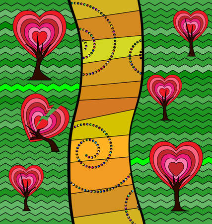 vector illustration colored background image of the abstract road of hearts consisting of lines with figures