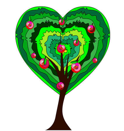 white background and the abstract heart-shaiped apple tree 일러스트