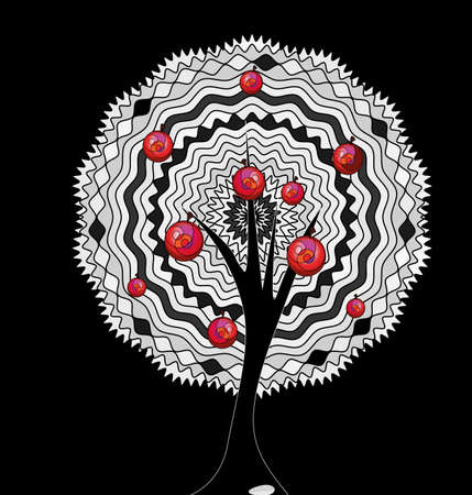 black background and the abstract white apple tree 일러스트