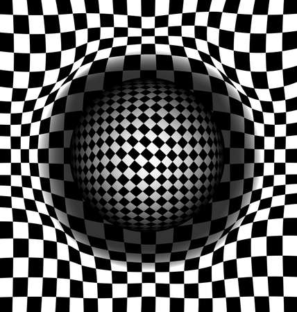 vector illustration black and white abstract cells and ball Ilustração
