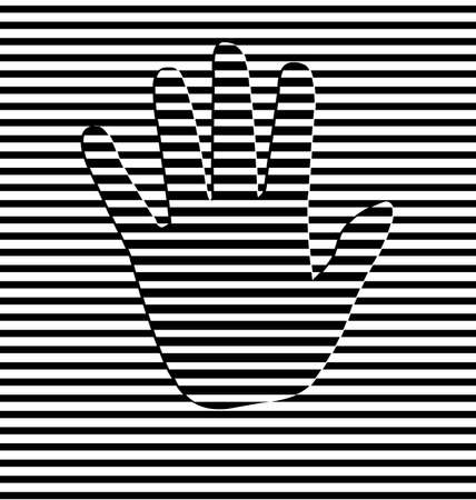 black and white vector illustration abstract lines with hand
