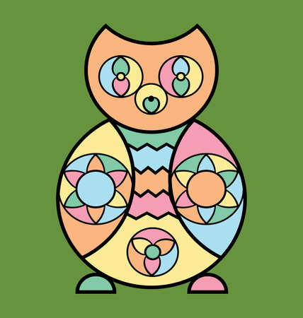 colored background image of the abstract owl Illusztráció