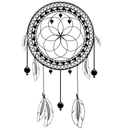 vector illustration white and black colored image of dreamcatcher with feathers Illustration