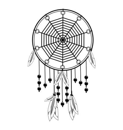 vector illustration white black image of dreamcatcher with feathers