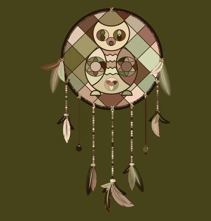 vector illustration colored image of dreamcatcher with feathers and owl