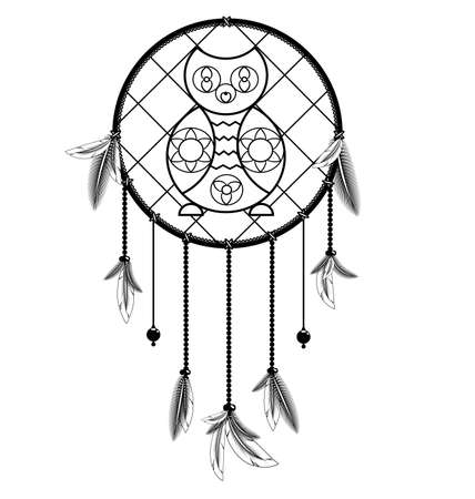 white black colored image of dreamcatcher with feathers and owl Illustration