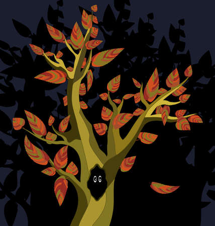 image of the abstract autumn tree with black hole and eyes Vectores