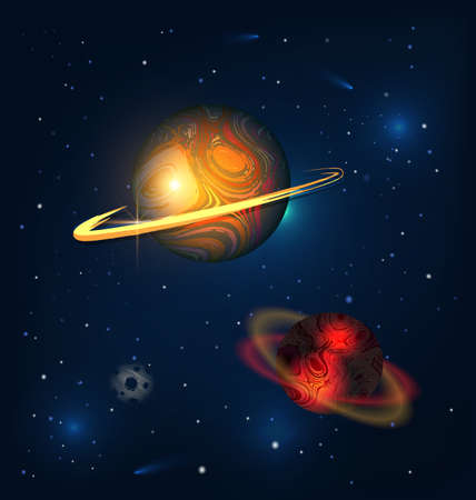 dark colored vector illustration abstract universe with red planets