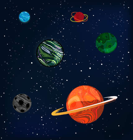 vector illustration abstract universe with colored planets