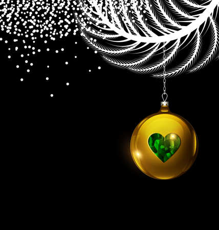 vector black white Christmas with gold ball 向量圖像