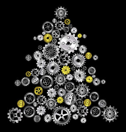 vector illustration Christmas tree with metal gears 版權商用圖片 - 159241791