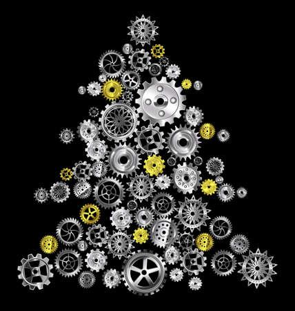 vector illustration Christmas tree with metal gears 向量圖像