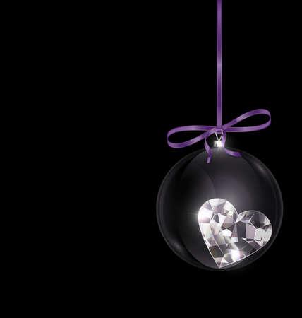black purple Christmas ball with heart crystal