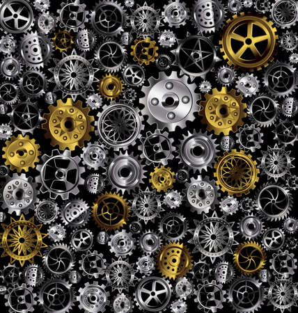 vector illustration metal background with white and yellow gears