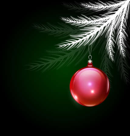vector white black Christmas with red ball
