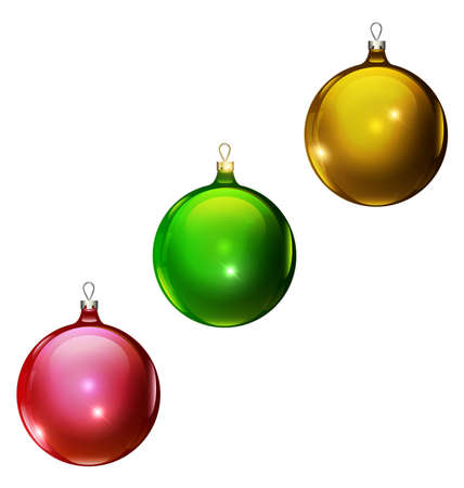 vector Christmas red, green and yellow balls