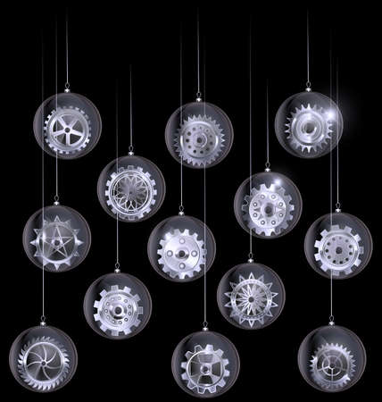 vector black white Christmas balls with gears