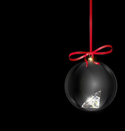 black red Christmas ball with crystal and red tape 向量圖像