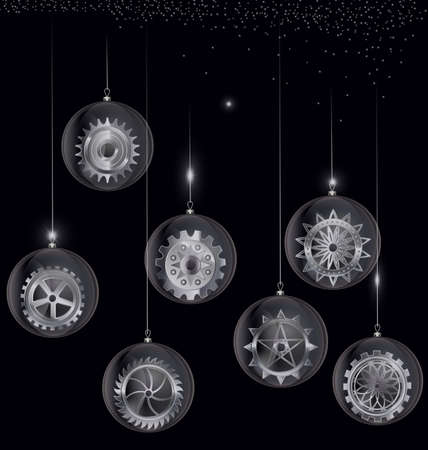 vector black and white Christmas balls with gear 向量圖像