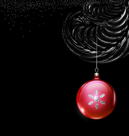 vector white black branch Christmas tree with red ball
