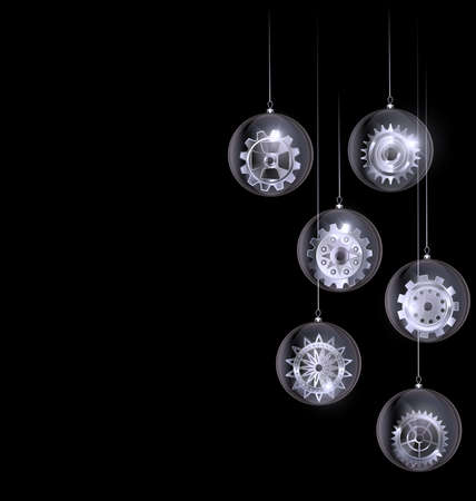 vector white black Christmas balls with gear