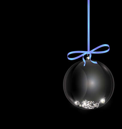 black white Christmas ball with crystals and blue tape