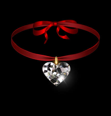 black background and jewel pendant heart with red tape 向量圖像
