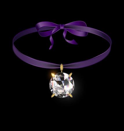 black background and jewel pendant crystal with purple tape 向量圖像