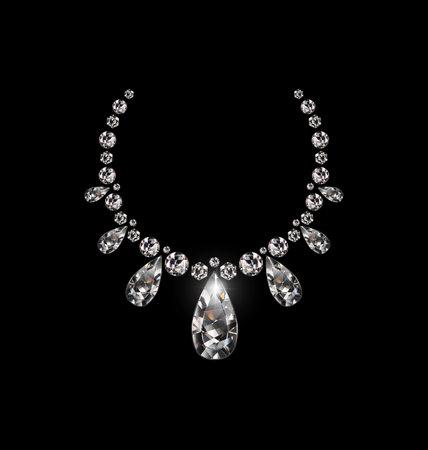 vector illustration black background and jewel diamond necklace 版權商用圖片