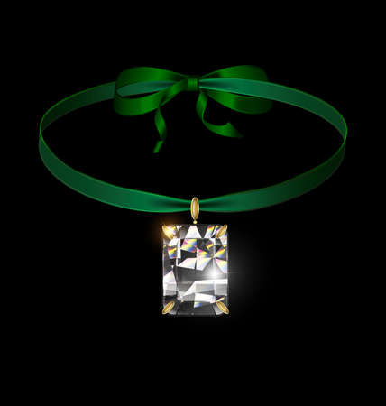 vector illustration black background and jewel pendant crystal with green ribbon