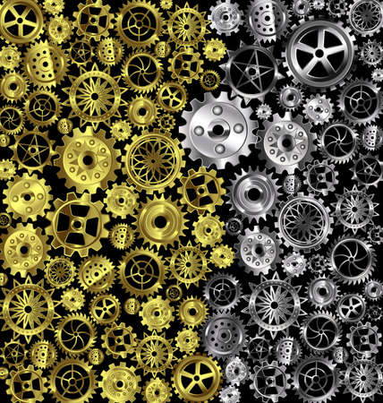 Illustration silver and golden iron gears