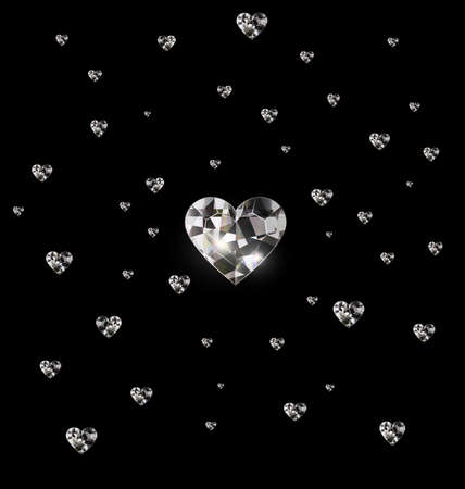 black background and light jewel crystals heart 版權商用圖片