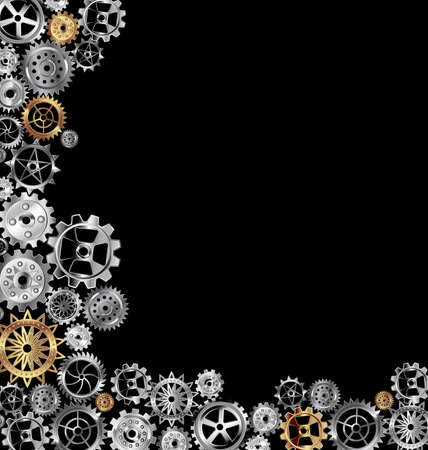 vector illustration dark background with white and yellow gears 向量圖像