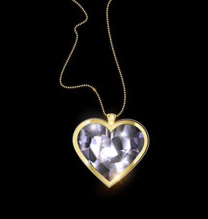 vector illustration black background and ljewel pendant crystal heart with golden chain