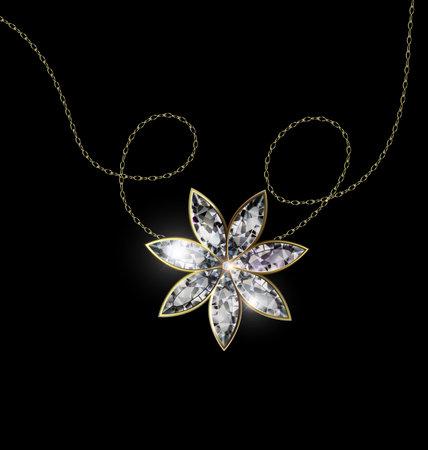 vector illustration black background and ljewel pendant crystal star with golden chain 版權商用圖片 - 160311414