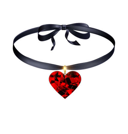 white background and jewel pendant red heart with dark tape