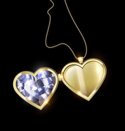 black background and jewel pendant medallion heart with golden chain  イラスト・ベクター素材