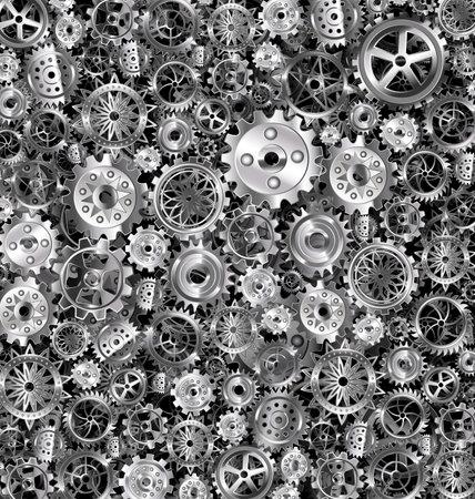 vector illustration dark background with iron gears