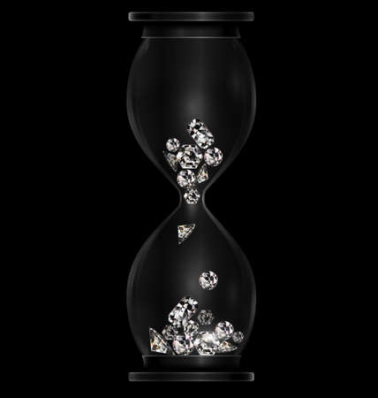 vector illustration dark background with black hourglass with crystals