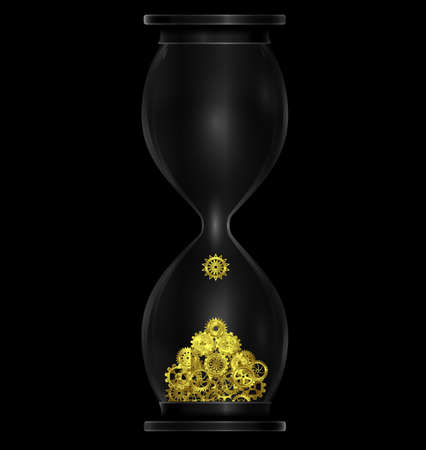 vector illustration dark background with black hourglass with golden gears