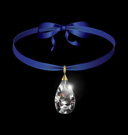 black background and jewel pendant crystal with blue tape 版權商用圖片 - 160914158