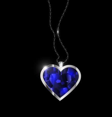 black background and jewel pendant blue heart with golden chain  イラスト・ベクター素材