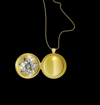 black background and jewel pendant medallion star with golden chain 向量圖像