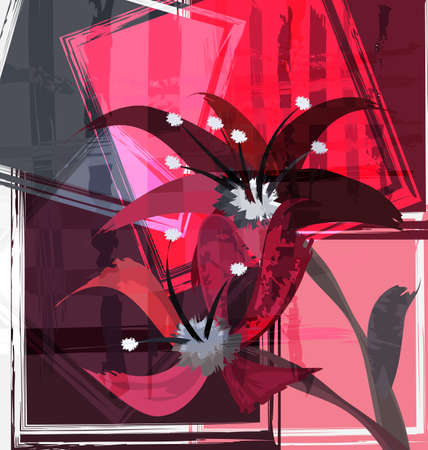 red gray colored background image abstract image of flowers 向量圖像