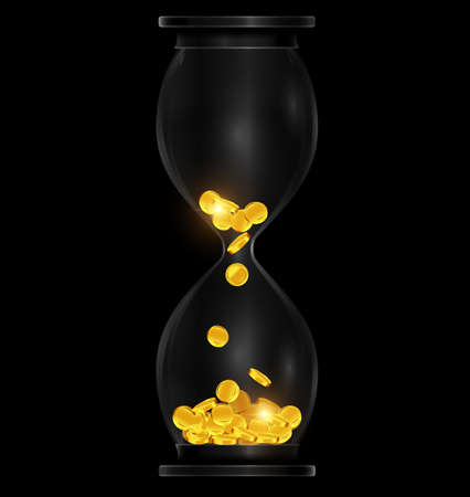 vector illustration dark background with black hourglass with golden coins 向量圖像