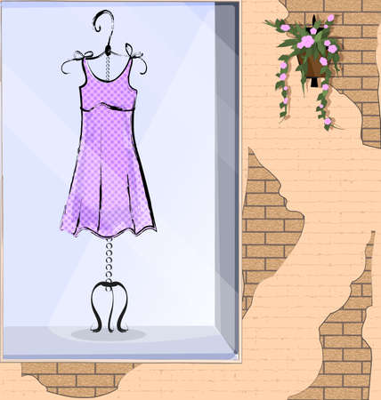 vector illistration stone wall and showcase with lilac dress