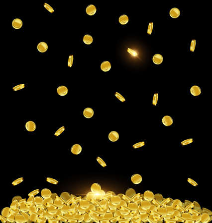 vector illustration dark background with falling golden coins