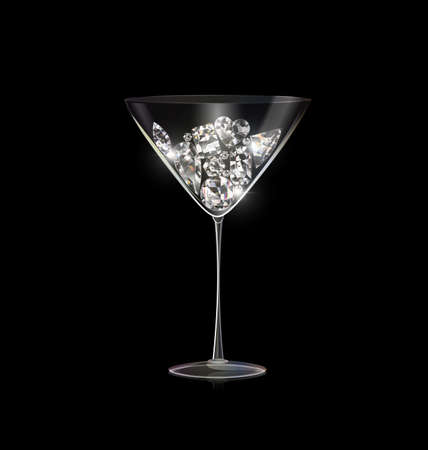 black background and glass of wine with light jewel diamond