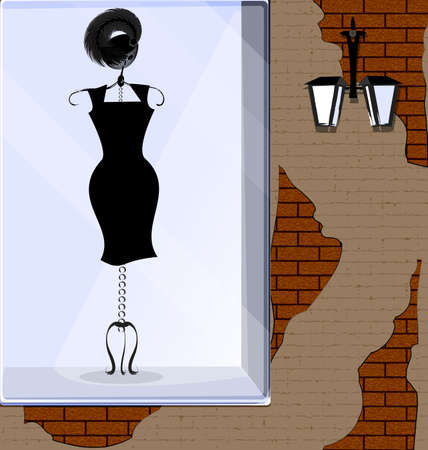 vector illistration stone wall and showcase with black dress 向量圖像